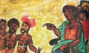 Aquarela mostra a rainha Ginga, de Angola, dando comandos a seu séquito de guerreiros no século XVII - Araldi de Cavazzi / Araldi de Cavazzi