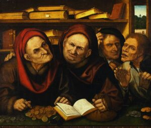 16th century --- Suppliants in the Office of Two Tax Collectors by Studio of Quentin Massys --- Image by © Christie's Images/Corbis