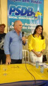 Thelma de Oliveira e seu candidato a vice-prefeito, Osmar Froner, do PRP