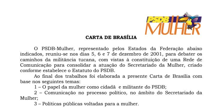 PSDB-MULHER DEFINE SUA PLATAFORMA POLÍTICA