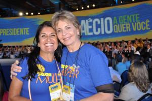 Thelma de Oliveira, tesoureira adjunta, e Yeda Crusius, vogal, duas presenças de peso na Executiva Nacional